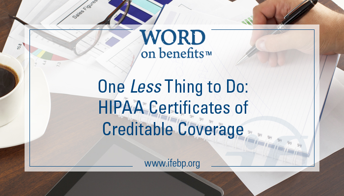 One Less Thing to Do: HIPAA Certificates of Creditable ...