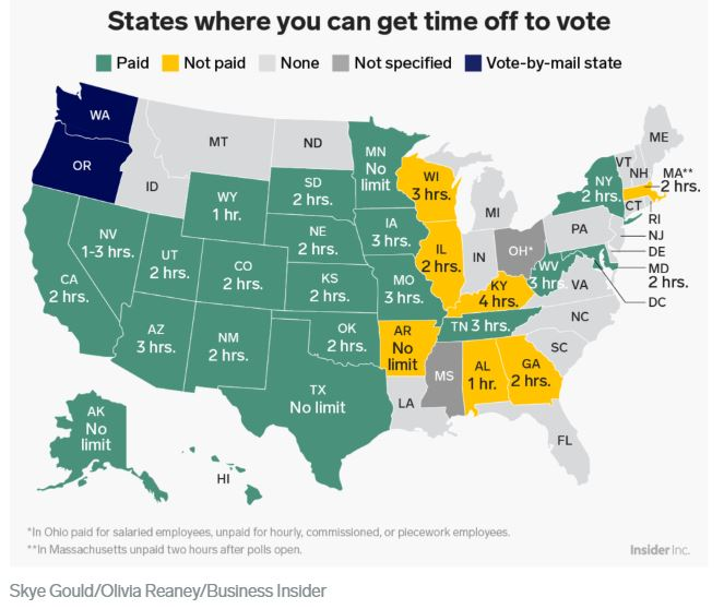 States where you can get paid time off to vote