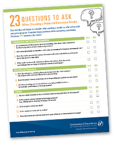23 Questions to Ask When Choosing a Financial Education Vendor Checklist