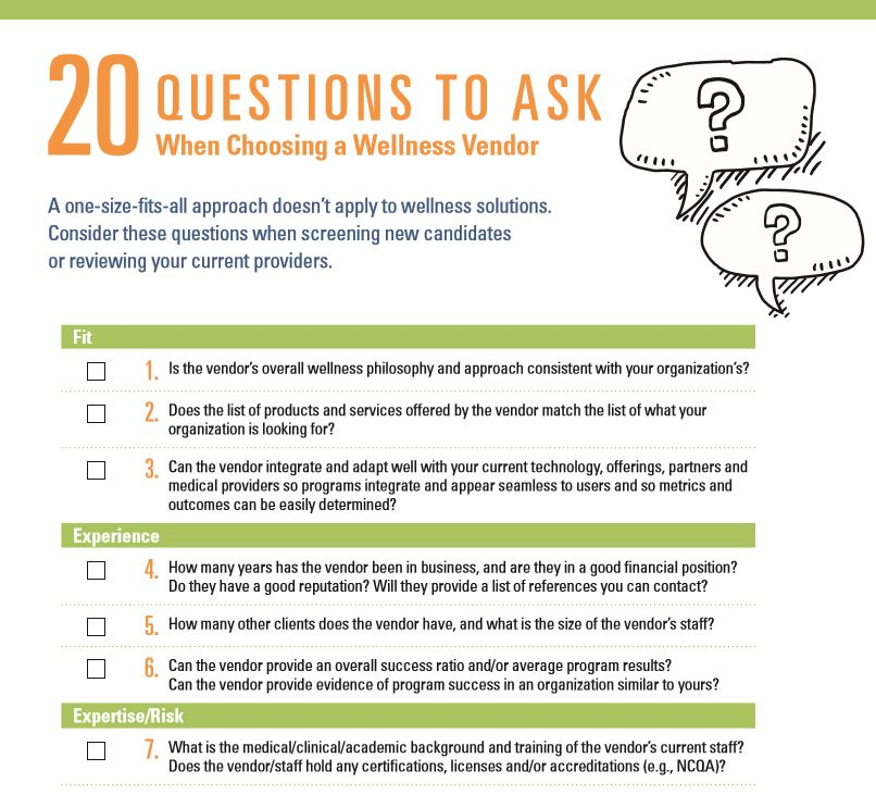 20 Questions to Ask When Choosing a Wellness Vendor